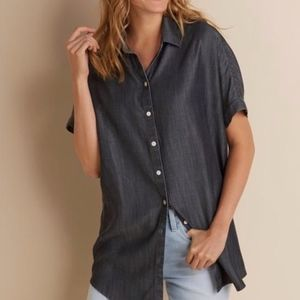 Soft Surroundings Dark Gray Button Up Top